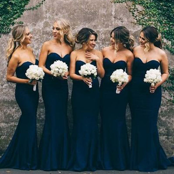 Sweetheart Mermaid Navy Blue Bridesmaid Dresses, Simple Wedding Guest Dresses, BG0338