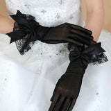 Black Wedding Gloves,  Short Gloves, Wedding Gloves With Handmade Flower, TYP0540