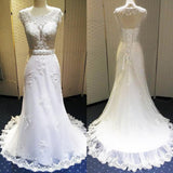 Vantage Scoop Neck Open Back See Through Lace Wedding Dresses, BG0209