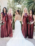 Unique sequin Long Bridesmaid Dresses, cheap bridesmaid dresses,PBH072