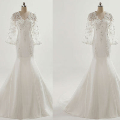 Vantage V-Neck See Through 3/4 Sleeve Mermaid Lace Beaded Wedding Dresses, BG0211