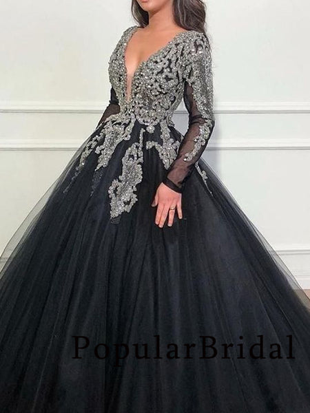 New arrival tulle rhinestone long sleeve ball gown long Prom Dresses, PBH029