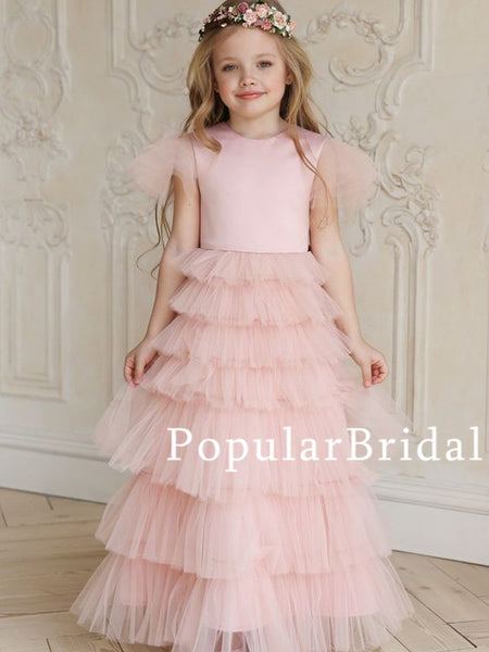 lovely satin ball gown long flower girl dresses,PBH060