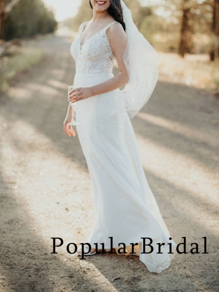 New arrival lace backless V-neck mermaid long wedding dresses,PBH022