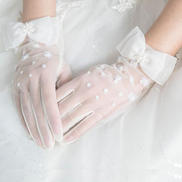 Wedding Gloves, Lace Gloves, Short Gloves, Wedding Gloves With Bow, TYP0537