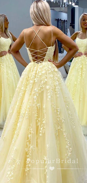 Charming A-Line Spaghetti Straps Cross Back Tulle Long Prom Dresses With Lace,POPD0002