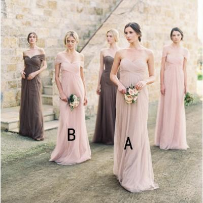 A-line Pink Tulle Long Bridesmaid Dresses,Cheap Bridesmaid Dresses,WGY0391