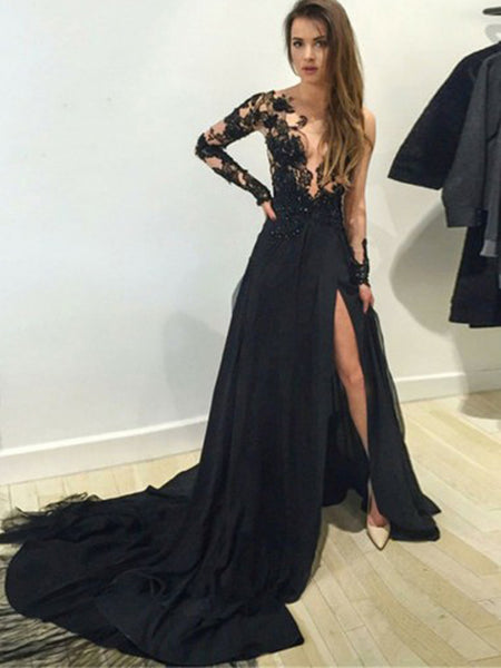 A-line Long Sleeves Black Split Prom Dress with Appliques,Cheap Prom Dresses,PDY0647