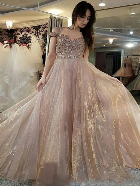 A-line Off-the-Shoulder Long Evening Dresses,Cheap Prom Dresses,PDY0636