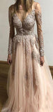 A-line V-neck Light Pink Lace Evening Dresses,Cheap Prom Dresses,PDY0635