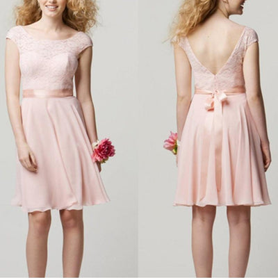 Cap Sleeve Lace Knee Length Blush Pink Cheap Popular Junior Short Wedding Bridesmaid Dresses, BG0034
