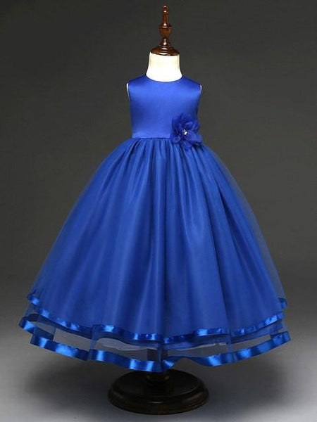 Jewel Royal Blue Noble Ball Gown with Handmake Flower, Flower Girl Dresses with Bow , TYP0282