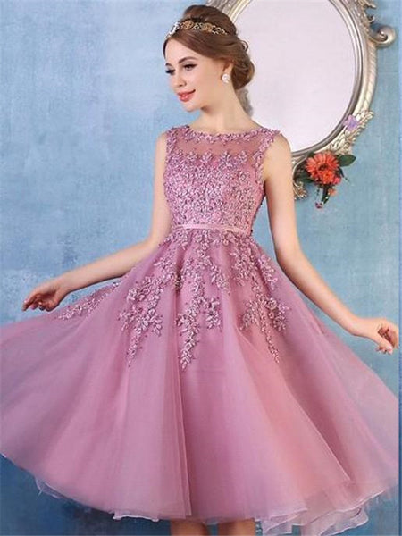 Lace Yarn Jewel Applique Tulle Zipper Closure Cute Pink Homecoming Dresses, HD087