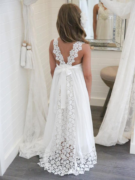 V-neck Lace Applique Staps Chiffon Gown Floor-length Wedding Flower Girl Dresses , TYP0275