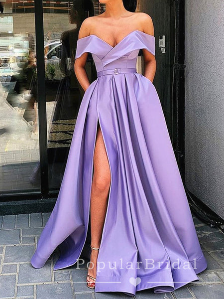 A-Line Off The Shoulder Split Side Cheap Long Prom Dresses Online,POPD0020