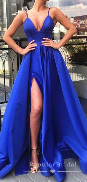 A-Line V-Neck Spaghetti Straps Split Side Cheap Long Prom Dresses,POPD0021