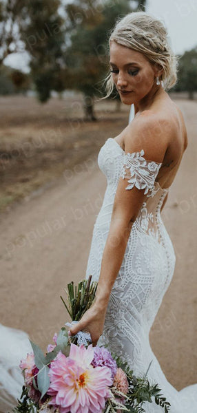 Off-The-shouder White Lace Wedding Dresses,Cheap Wedding Dresses, WDY0291