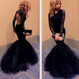 Round Neck Open Back Black Lace Long Sleeve Mermaid Tulle Prom Dresses, BG0212
