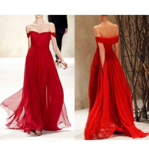 Off Shoulder Red Chiffon Long A-line Cheap Popular Prom Dresses, BG0213