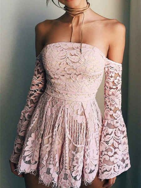 Off-shoulder Illusion Lace Scalloped Sexy Mini/Short Homecoming Dresses With Ruffles , HD122