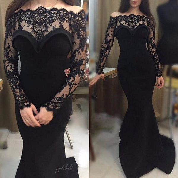 Gorgeous Black Lace Off Shoulder Long Sleeve Sexy Mermaid Prom Dresses, BG0008
