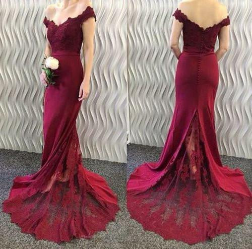 Off Shoulder Long Mermaid Maroon Lace Most Popular Prom Dresses, BG0217