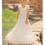 V-neck Ivory Tulle Appliques A-lone Long Little Girl Dresses, Lovely Flower Girl Dresses, FG065