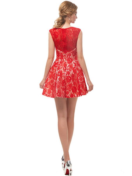 Illusion Red Lace Homecoming Dresses, HD078