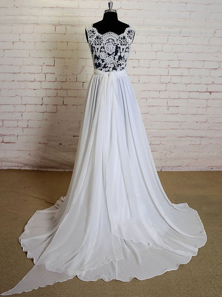 See Through V Neck  Simple Custom Cheap Beach Wedding Dresses, WD318
