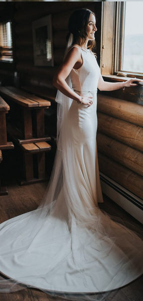 Mermaid Bateau White Satin Wedding Dresses,Cheap Wedding Dresses, WDY0292