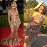 Beyonce Inspired Celebrity See Through Sexy Rhinestone Long Sleeve Prom Dresses, BG0220