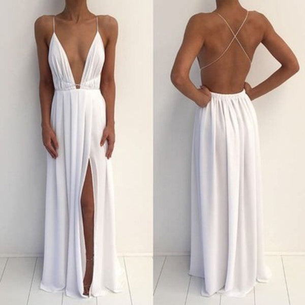 Sexy Deep V-Neck Spaghetti White Chiffon Side Slit Long Prom Dresses, BG0223