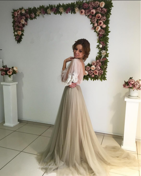 Long Sleeve White Lace Top See Through Elegant Long A-line Tulle Prom Dresses, BG0226