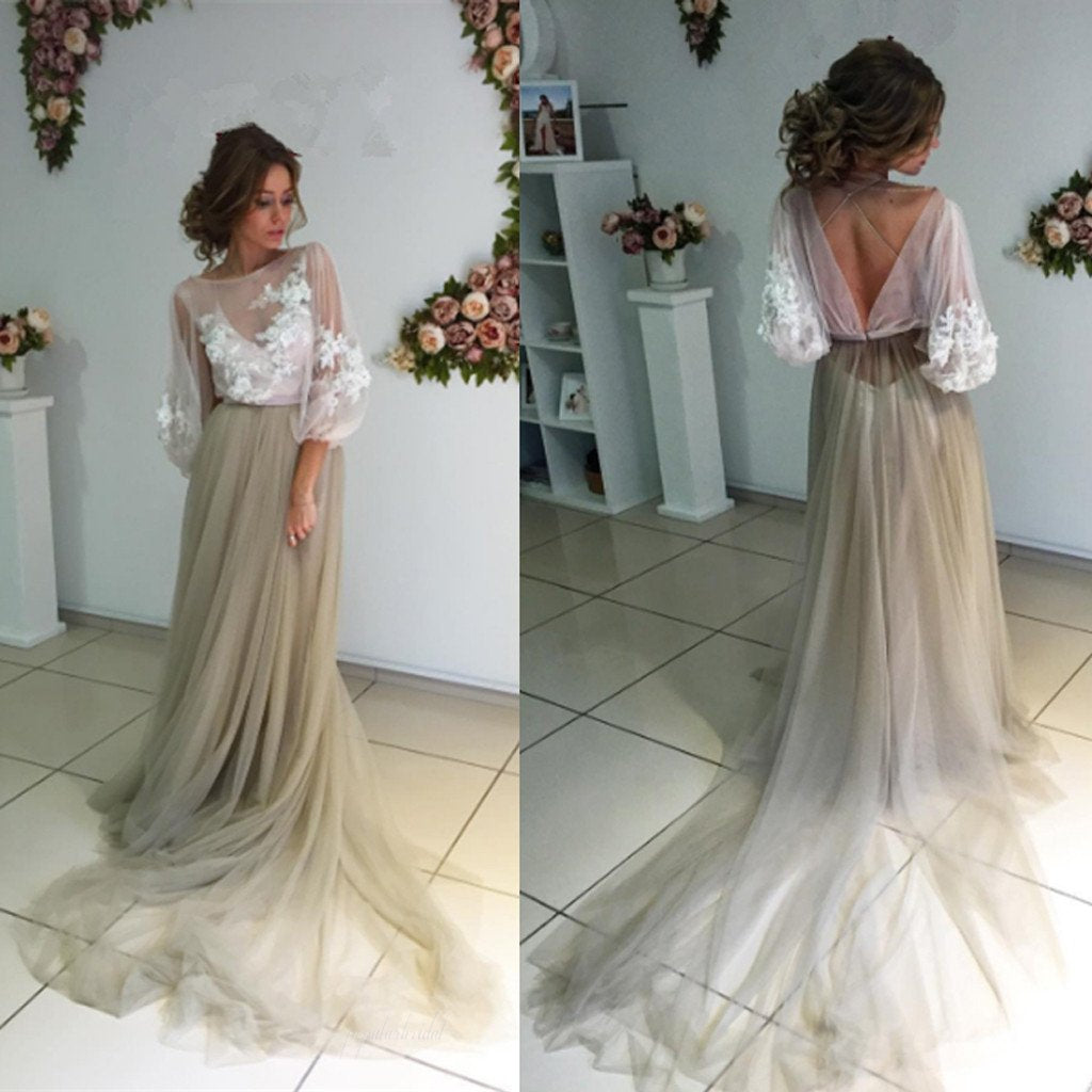 4a7caaef8a Long Sleeve White Lace Top See Through Elegant Long A-line Tulle Prom  Dresses