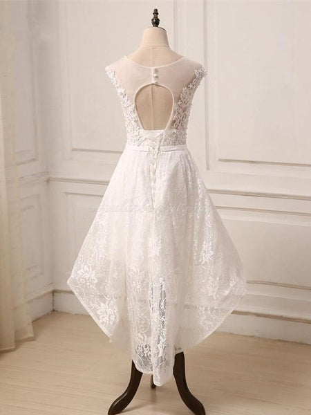 Scoop Tulle Appliqued See-through Homecoming Dresses, Crocktail Open-back White Dress, EPR0007