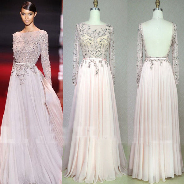 Scoop Neckline, Beaded See Through Backless Long A-line Pale Pink Chiffon Prom Dresses, BG0229