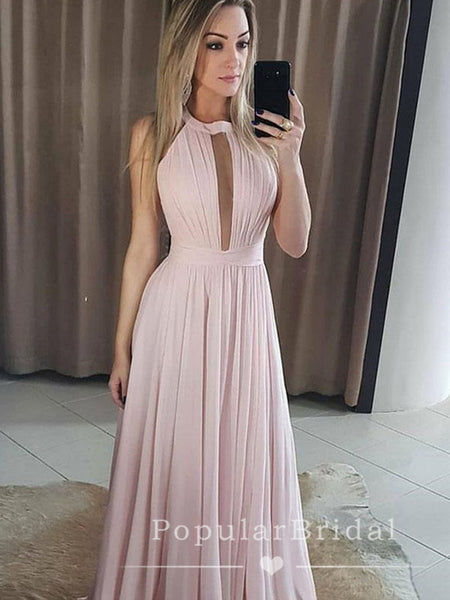 A-Line Round Neck Sleeveless Chiffon Long Prom Dresses,POPD0022