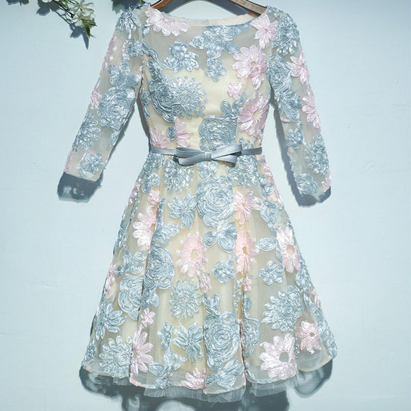 Gorgeous Light Blue Pink Lace Half Sleeve Unique Homecoming Dresses, HD022