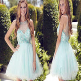 Mint Green  Rhinestone Beaded Cute Organza Homecoming Dresses, Short Prom Dresses, HD057