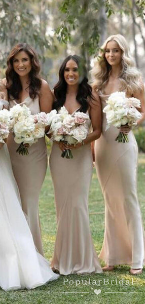 Mermaid Spaghetti Straps Illusion Custom Cheap Long Bridesmaid Dresses,POWG0023