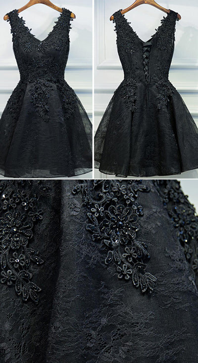 Black Lace V-neck A-line Beaded Lace Up Tulle Homecoming Dresses, Little Black Dress, HD023