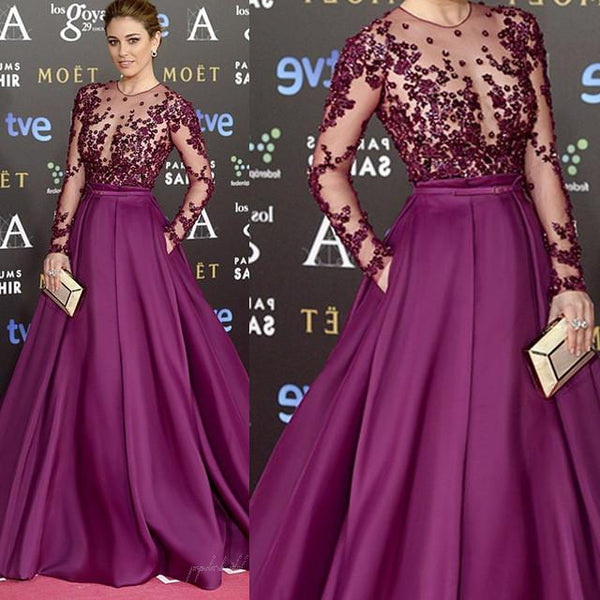 Red Carpet Inspired Plum See Through Beaded Sexy Long Sleeve A-line Satin Prom Dresses, BG0235