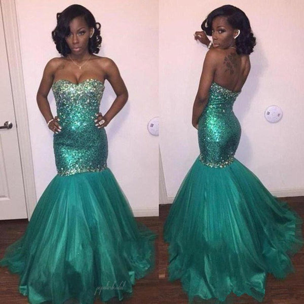 Sweetheart Green Sequin Rhinestone Long Mermaid Tulle Prom Dresses, BG0238
