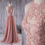 Lace Top See Through Dusty Rose Long A-line Chiffon Prom Bridesmaid Dresses, BG0239