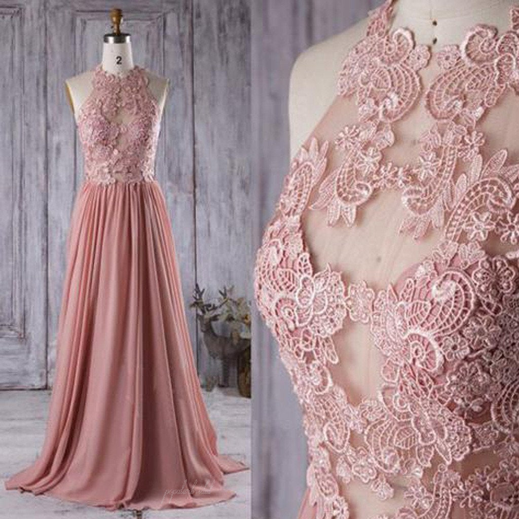 64f691e354 Lace Top See Through Dusty Rose Long A-line Chiffon Prom Bridesmaid Dresses