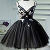 Spaghetti Black Tulle Ivory Lace Sexy Lace Up Homecoming Dresses, Little Black Dress, HD074