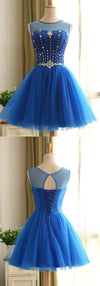 Round Neck Rhinestone Beaded Royal Blue Tulle Open Back Lace Up Homecoming Dresses, HD024