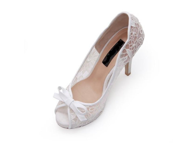 Ivory Lace High Heels Fish Toe Sexy Wedding Bridal Shoes With Tow, S020