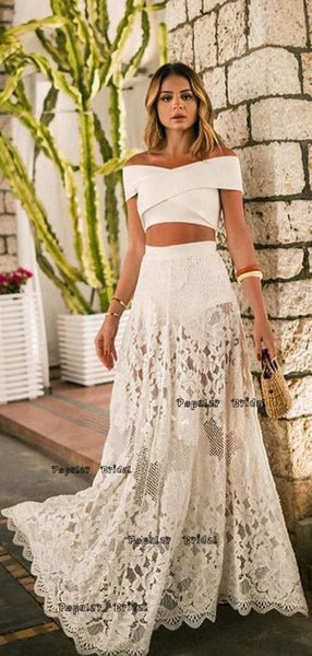 Two Piece Off-The-Shoulder White Lace Prom Dress ,Cheap Prom Dresses,PDY0643