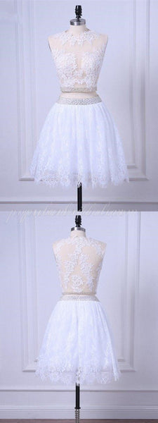 Two-pieces A-line Lace See-through Homecoming dresses with Beading, Short Dress, EPR0005